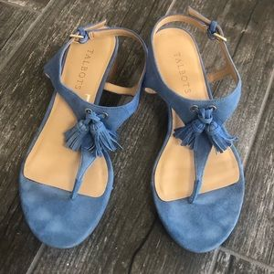 Talbots Blue Faux Suede Sandals